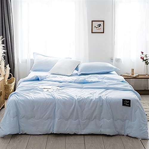 YYGQING Edredón de algodón fino para verano con estilo fresco y cómodo de verano, doble aire, para viajes, sofá cama, edredón de verano (color: azul cielo, tamaño: RU Family(150 x 200 cm)