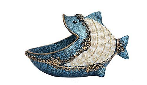 BaiXing Große Mund Fisch lagerplatte Home licht kreative schlüssel aufbewahrungsbox Veranda eingangstür Schuh schlüssel Key schutt Finishing Box praktische Dekorationen (Color : Blue)