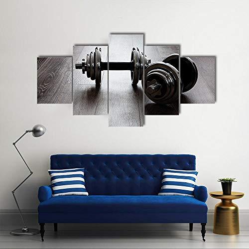 Cuadros de Lienzo, Cuadros en Lienzo, Dos Mancuernas para Fitness,Vintage Pared Decoración Pintura Dormitorio Sala de Estar Baño Regalos para Familiares Amigos