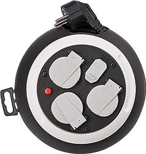 Brennenstuhl Comfort-Line enrollacables doméstico con 4 enchufes y USB (cable de 3 m, alargador eléctrico enrollable, para uso al hogar, carga USB) negro/blanco