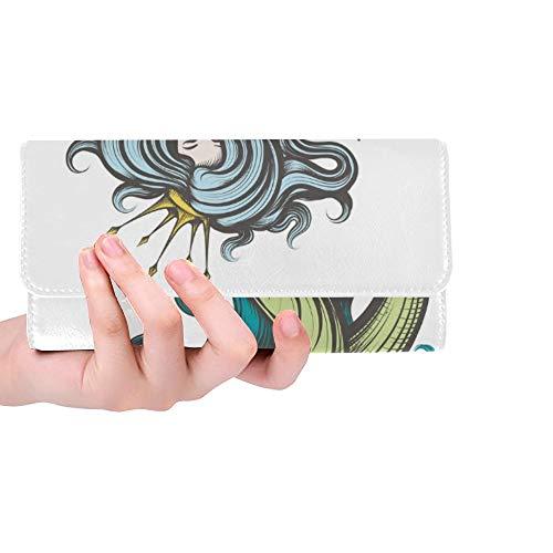 Einzigartige Schönheit blauhaarige Sirene Meerjungfrau goldene Frauen dreifachgefaltete Brieftasche Lange Geldbörse Kreditkarteninhaber Fall Handtasche