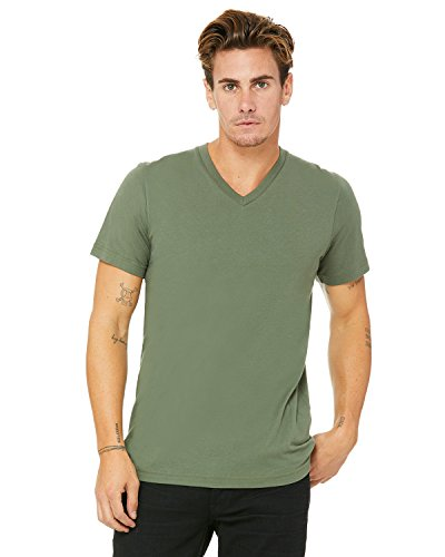 Bella Canvas Men's Jersey Short Sleeve V-Neck Tee, Military Green, X-Large