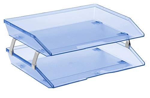 Acrimet Facility Organizzatore di Documenti in Plastica a 2 Ripiani Laterale Vaschetta A4 Portadocumenti per Ufficio (Blu Trasparente)