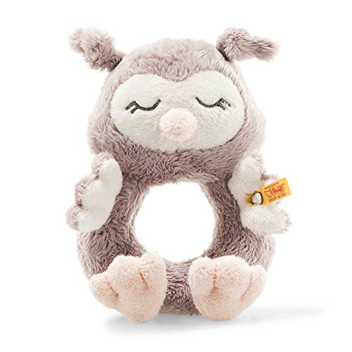 Steiff 241864 Soft Cuddly Friends Ollie Owl Grab Ring with Rattle 14 cm Rose Brown