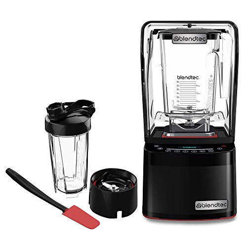 Blendtec GO Cup (34 oz) 800 Blender-WildSide+ Jar (90 oz) Spoonula Spatula BUNDLE - Industries Strongest and Quietest Professional-Grade Power, 11-Speed Touch Slider, Black