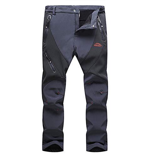 LUI SUI Pantaloni da Trekking Antivento da Esterno Foderati in Pile Softshell da Uomo Pantaloni da Sci da Escursionismo Invernali Caldi addensati