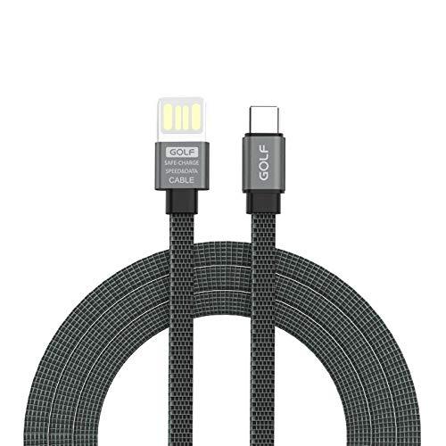 SHW GC-73t wijnglas stijl USB-C/Type-C naar USB 3A aluminium legering tweekleurige platte draad snel opladen USB-datakabel (grijs) kabels, Grijs