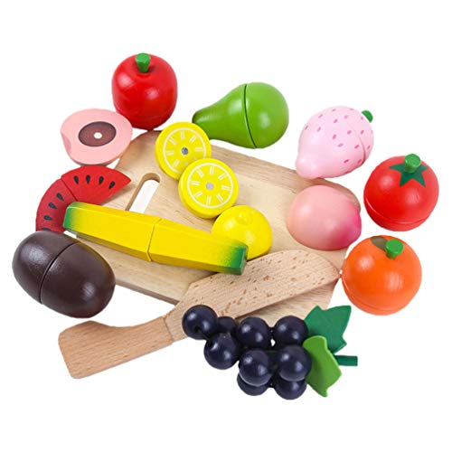 Gadpiparty Cortar Juguetes Juego de Simulación Juego de Comida para Niños Cocina Comida de Madera Frutas Verduras Juguetes para Alimentos