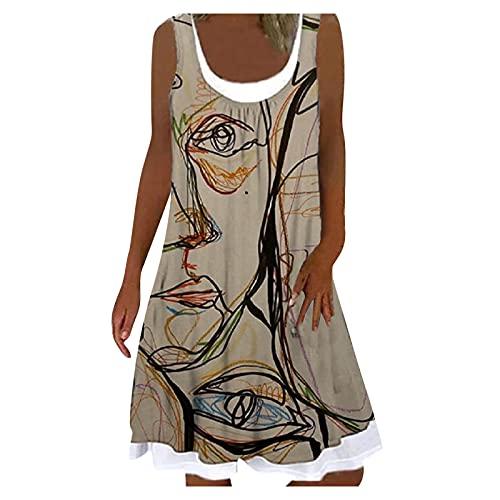 Vestidos Cortos Y Casuales Vestidos Cortos Playa Vestido Sin Mangas Corto De Verano Para Mujer Falda De Una Pieza Falsa De Dos Piezas Con Estampado Abstracto