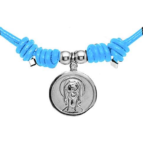 Kokomorocco Medalla comunión Virgen niña de Plata de Ley y Cuero, Collar Ajustable, Cuero Colores, Regalo de cuentecito con la Leyenda de la Virgen niña