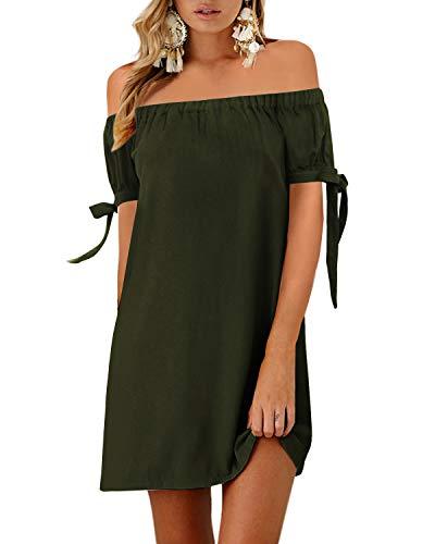 YOINS, vestito estivo da donna, corto, senza spalle, maniche lunghe, sexy, motivo floreale, abito da spiaggia a-Verde militare S