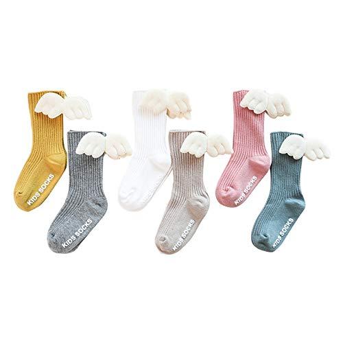 Cuasting 6 paia di calzini alti al ginocchio delle ragazze dell'angelo ala d'estate autunno calzini di cotone tinta unita di colore della caramella per bambini calzini corti - S Colorato Large