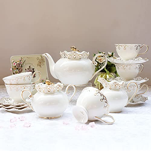 15 Pieces Porcelain Tea Sets With Teapot Tea Cups And Saucer Set Bone China Coffee Cups Sets Ceramic Tea Service For Adults Afternoon Tea Set