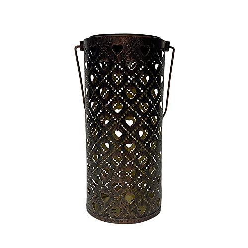 Lámpara de proyección solar en forma de corazón de hierro forjado hueco solar linterna portátil jardín jardín lámpara colgante decorativa al aire libre