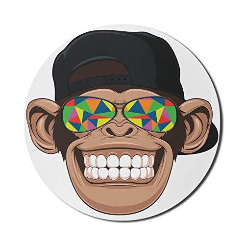 Cartoon-Mauspad für Computer, lustiger Hipster-Affe mit bunter Sonnenbrille und Hut Rapper Hippie Ape Art, rundes rutschfestes dickes Gummi-modernes Gaming-Mousepad, 8 'rund, weiß-braun
