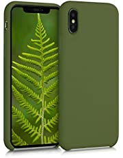 kwmobile Funda Compatible con Apple iPhone XS - Carcasa de TPU para móvil - Cover Trasero en Verde cocodrilo