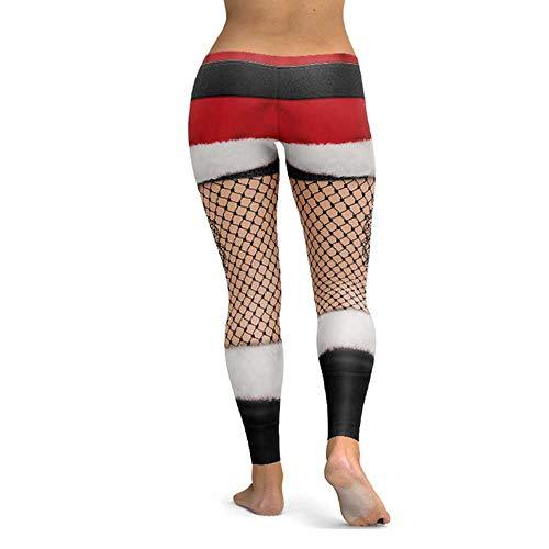 ZBBYMX Kerstdrukgamassen, set van heupen, elastische hoge taille legging, ademende broek, de Frozen Kerstmis X-Small Fotokleur