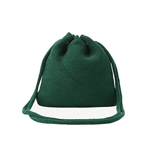 Oinna Sac à bandoulière en laine tricotée - Sac à bandoulière simple en laine - Style rétro - 27 x 27 cm (jaune) - Vert - vert, 27*27cm