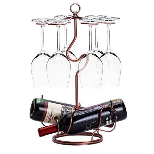 Estantería de vino Metálica de bronce de cristal del vino de botellero portavasos titular, un gancho con 6 escritorios independientes estante vajilla botella estante estante de vino pequeño