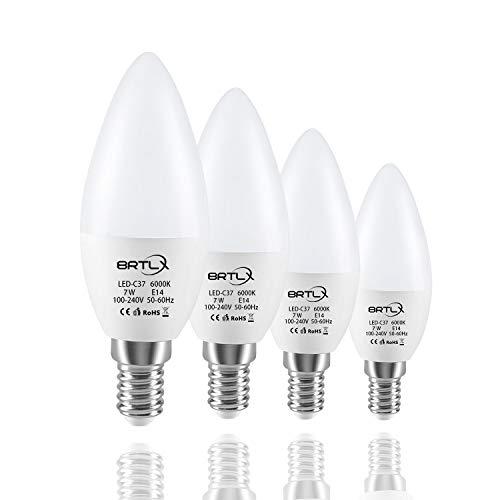 BRTLX E14 LED-Glühbirne 7W (ersetzt 60W) Sockel C37, 220° Abstrahwinkel, Kaltweiß 6000K, 560lm, 4er-Pack