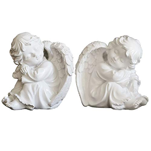 KiaoTime Set of 2 Resin Adorable Cherubs Angels Statues Figurine Guardian Sleeping Angel Garden Wings Angel Sculpture Cute Little Angel Collection Angel Memorial Statue
