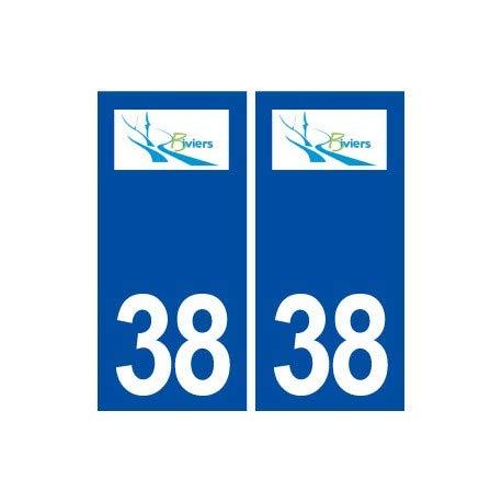 38 Biviers Logo Stadt Aufkleber, Aufkleber – Ecken: rechts