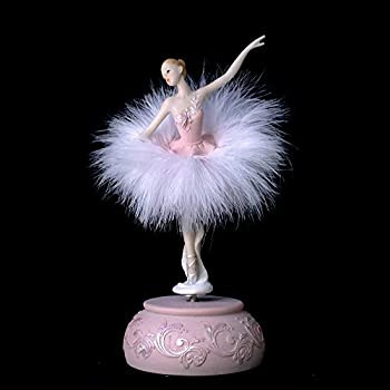 Chagar Feather Skirt Ballerina Rotating Music Box Figurine,White and Pink Manual Control Dancing Girl Musical Box for Girl Kids Gift  Pink