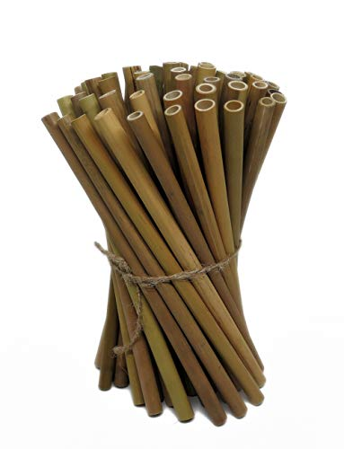 "IA Crafts Bamboo Sticks, Bamboo Straws, Bamboo Stakes Craft Supplies, for Crafts and DIY, Natural Bamboo Color, 7.87"" Long and 0.32""-0.40"" in Diameter"