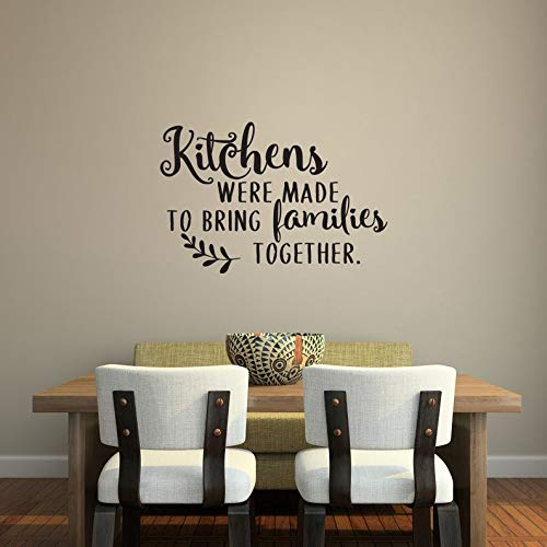 Sticker mural amovible en vinyle avec citation « Kitchens were made to bring ing Families Together »