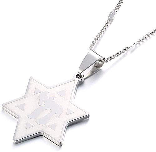 LKLFC Collar Mujer Collar Hombre Collar Acero Inoxidable Color Dorado Estrella de W/Chai Símbolo Colgante Collar Judíos Joyería Colgante Collar Niñas Niños Regalo