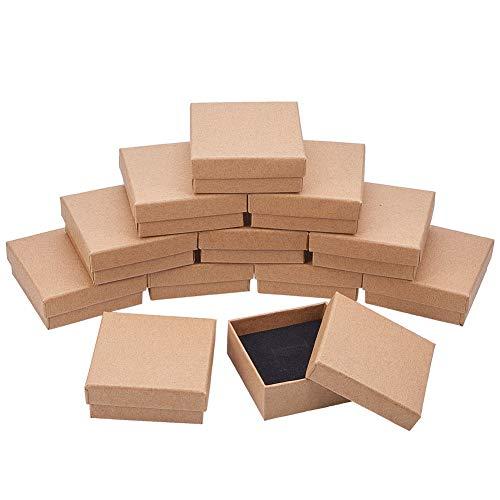 NBEADS Caja, 16 Piezas 7 Cm/2.7 Pulgadas Cuadrado Burlywood Cartón Bead Caja de Regalo para Joyería Pulsera Collar Manualidades Cumpleaños Navidad Festival Almacenamiento