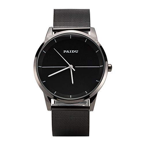 GLEMFOX eenvoudige herenhorloge mode kledingaccessoires quartz horloge klassieke casual stalen band herenhorloge rond wijzerplaat wijzerplaat Riemen. 34