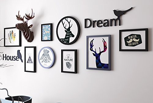La tête de cerf peinture photo sur le mur dans le salon chambre Armature Noir et Blanc Combinaison de créatifs photo walldassalle schwarz8. Box + de la tête de cerf + la lettre + le cœur