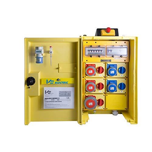 Cuadro eléctrico de obra primaria con 5 tomas 400 V-220 V con seta de emergencia marca VB serie P5-T 22001