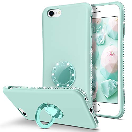 "BENTOBEN iPhone 6S Case, iPhone 6 Case, Slim Silicone Soft Rubber with 360° Ring Holder Kickstand Shockproof Bumper Protective Stylish Phone Case Cover for Apple iPhone 6S / iPhone 6 4.7"", Mint Green"