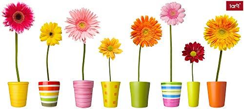 1art1 Blumen - Bunte Blumen In Farbenfrohen Töpfen Wand-Tattoo   Deko Wandaufkleber für Wohnzimmer Kinderzimmer Küche Bad Flur   Wandsticker für Tür Wand Möbel/Schrank 125 x 45 cm