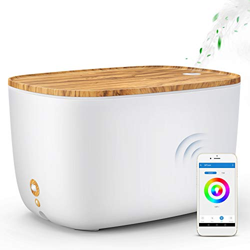 GX?Diffuser Smart Essential Oil Diffuser, 2L WiFi Aroma Diffuser Alexa Humidifier Compatible with Echo & Google Home, 3 Mist Mode Adjustable & 7 Colour Changing for Baby, Bedroom, Yoga, Home