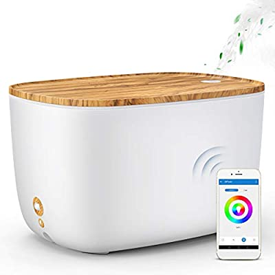 GX·Diffuser Smart Essential Oil Diffuser, 2L WiFi Aroma Diffuser Alexa Humidifier Compatible with Echo & Google Home, 3 Mist Mode Adjustable & 7 Colour Changing for Baby, Bedroom, Yoga, Home