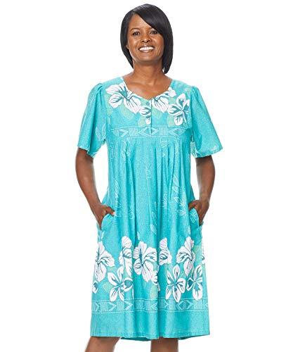 AmeriMark Women's Floral Print Dress – Short Sleeve House Dress with Pockets Jade 5X
