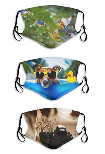 Face_Mask Reusable Washable for Women Men Dog Sunglasses Duck Balaclava with 3 Packs 6 Filter,Made in USA