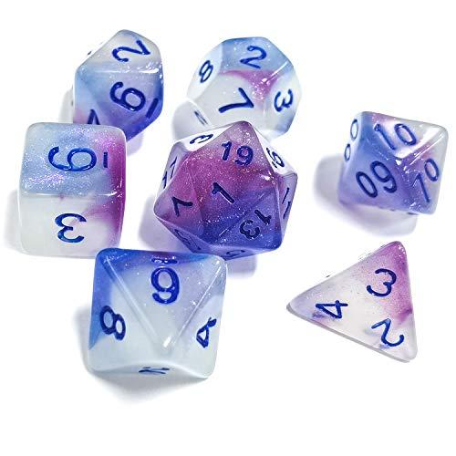 FLASHOWL DND Dice Set Luminoso Poliedrico Dice Set RPG Dice Set d4 d6 d8 d10 d12 d20 d% per Dungeons e Dragons 7 Pezzi Set di dadi di gioco