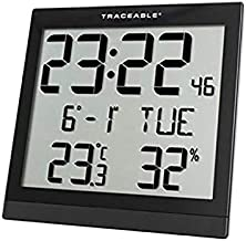 CONTROL Traceable 1076 Digital Radio Atomic Wall Clock, Black