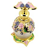 Lurrose Botella de Perfume Vintage Botella de Perfume de Flor Redonda de Vidrio Recargable Vacía con Contenedores de Botella con Tapón de Mariposa