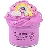 HappyTimeSlime Butter Birthday Contton Rainbow Slime, Non-Sticky Floam Slime Stress Relief Toy Scented DIY Putty Sludge Toy for Girls and Boys(7oz) 200ML