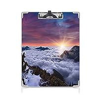 3 dパターンの クリップボード アルファベット 自然 答案用紙入れ 山の冬の風景夕日からの雄大な風景装飾的な写真ムーブホワイトブラウン