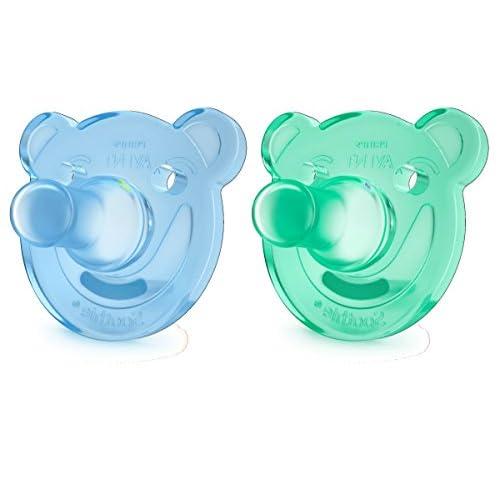 Philips Avent SCF194/01 Ciuccio Morbido Soothie 0-3M, Silicone Morbido per Favorire l'Interazione col Bambino/a, Azzurro e Verde