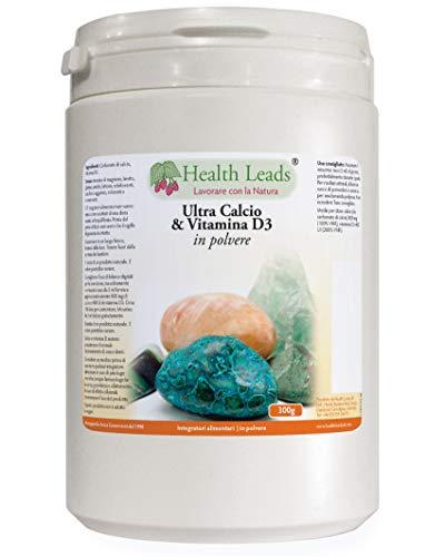 Ultra carbonato di calcio e vitamina D3 in polvere, 300g, Senza magnesio stereato o additivi dannosi,La vitamina D svolge un ruolo importante nell'assorbimento del calcio, Da Health Leads