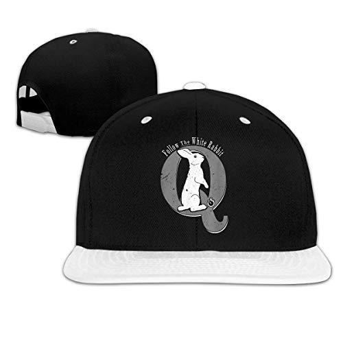 Gorra de béisbol de Hip-Hop Ajustable con Reloj de Bolsillo de Conejo Blanco
