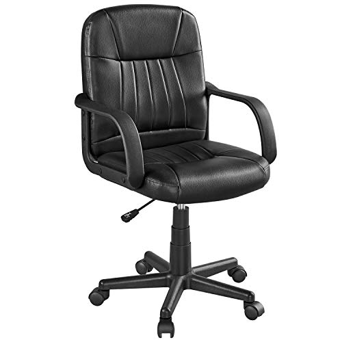 Topeakmart Mid-Back Leather Executive Office Chair Swivel Computer Task Chair Lumbar Support Adjustable Conference Chair Gaming Chair with Arms