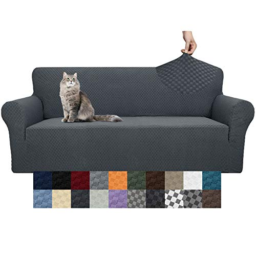 High Stretch Sofa Covers for 3 Cushion Couch -Dog Proof Slipcover Non Slip Magic Elastic Furniture Protector